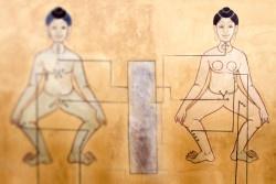 Ancient Art  woman and man Mural Point massage on wall at Wat Pho, Bangkok, Thailand.